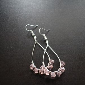 Swarovski crystal wire wrapped dangle earrings